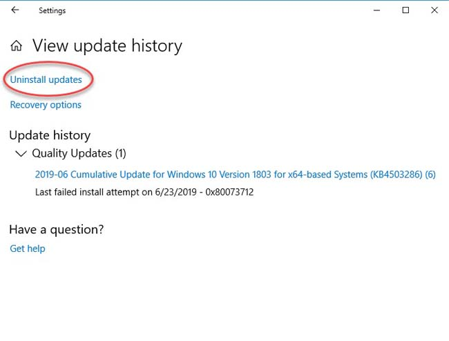 Uninstall recent Windows 10 update