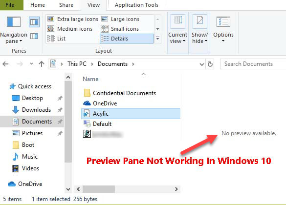 Preview Pane Not Working In Windows 10