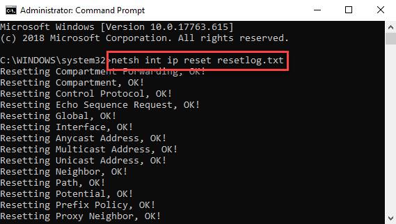 Reset TCP/IP
