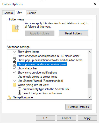 Show preview handlers in preview pane