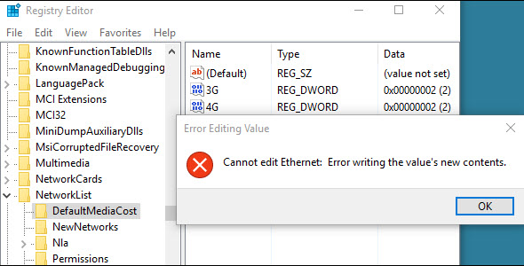 Error writing the value's new contents Windows 10 registry