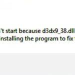 D3dx9_38.dll Is Missing Error
