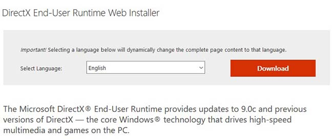Install the latest version of Microsoft DirectX