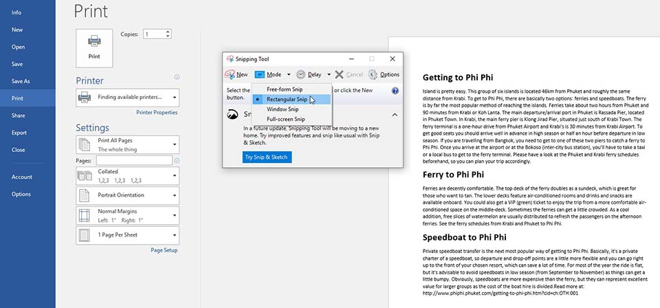 Save Word document as JPEG Using the Windows Snipping Tool - 2