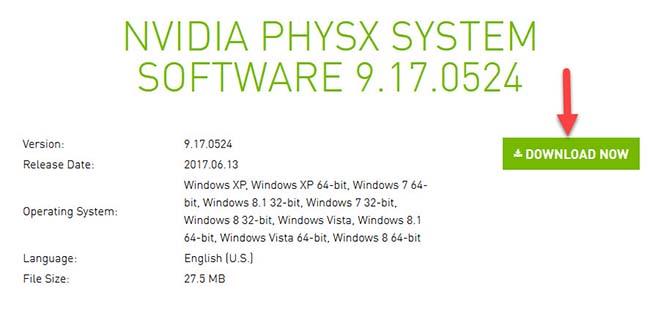 NVIDIA PhysX System Software