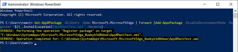 How To Reinstall Microsoft Edge In Windows 10 Step 03