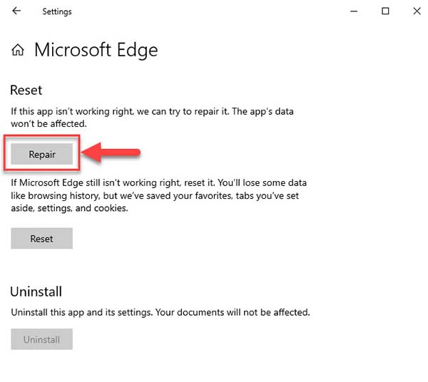 How To Repair Microsoft Edge In Windows 10 - Step 01