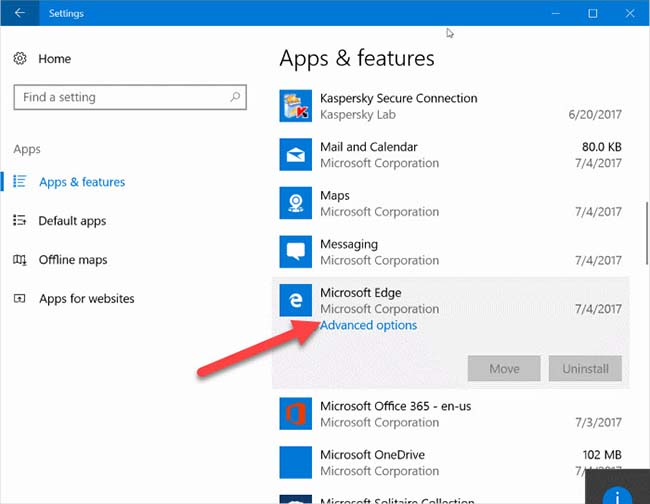 Reset Microsoft Edge in Windows 10 step 02