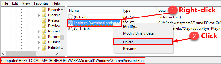 Delete the Logitech Download Assistant Key from Registry Editor