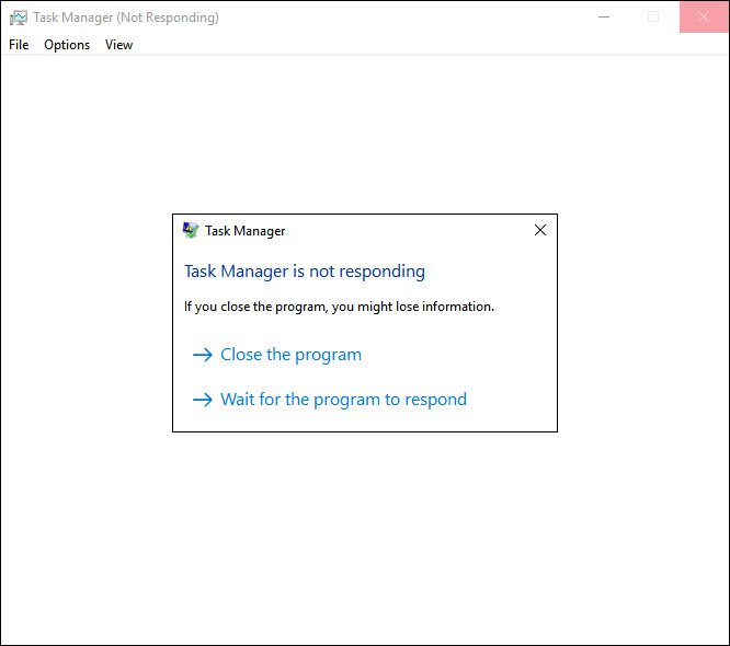 Task Manager Not Responding Windows 10