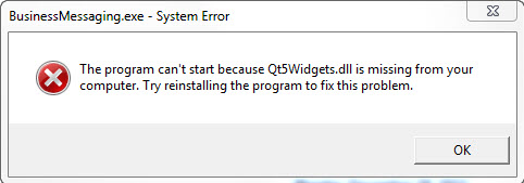 The program can't start because Qt5Widgets.dll is missing from your computer