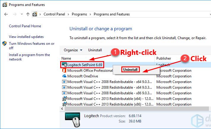 Uninstall the Logitech SetPoint Software