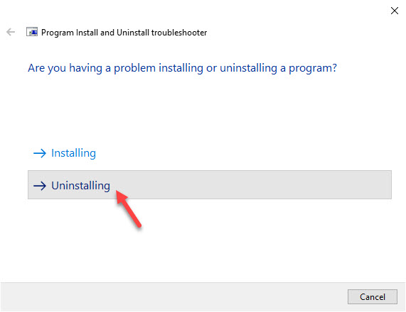Use Program Install and Uninstall Troubleshooter by Microsoft - step03
