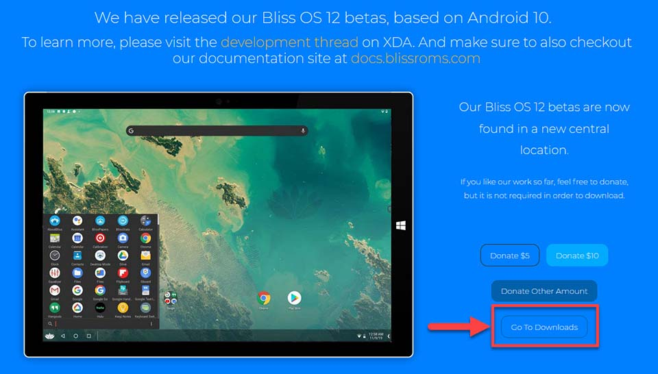 Download Bliss OS 12