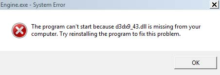 The program can't start because d3dx9_43.dll is missing from your computer