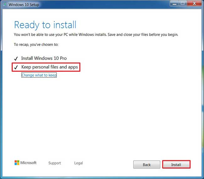 Keep files during Windows 7 to Windows 10 upgrade option