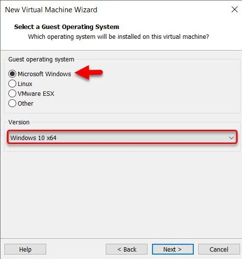 Select a Guest Operating System
