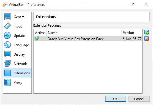 VirtualBox Install Extension