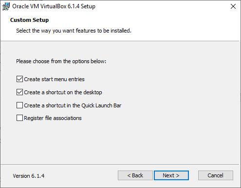 VirtualBox Installation – Custom Setup – Select feature to Install Dialog box screenshot