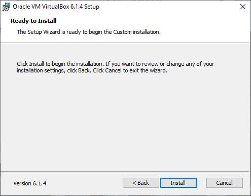 VirtualBox Installation – Ready to Install