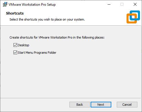 VMware Workstation 15 Pro Installation – Shortcut Selection