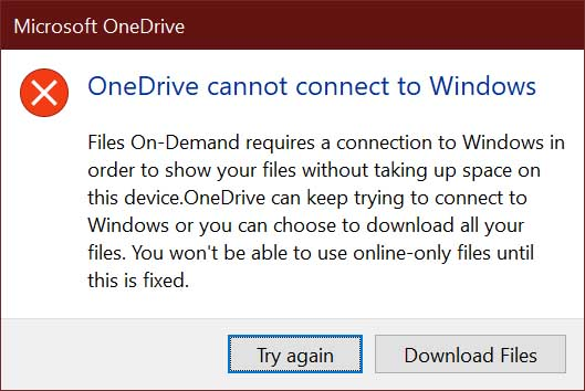 OneDrive cannot connect to Windows