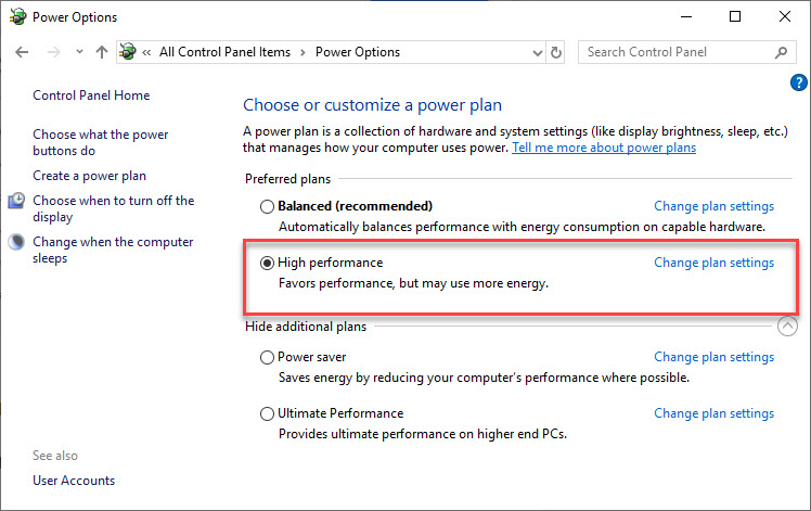 "Set your Power Plan Mode to ""High-Performance"" Mode"