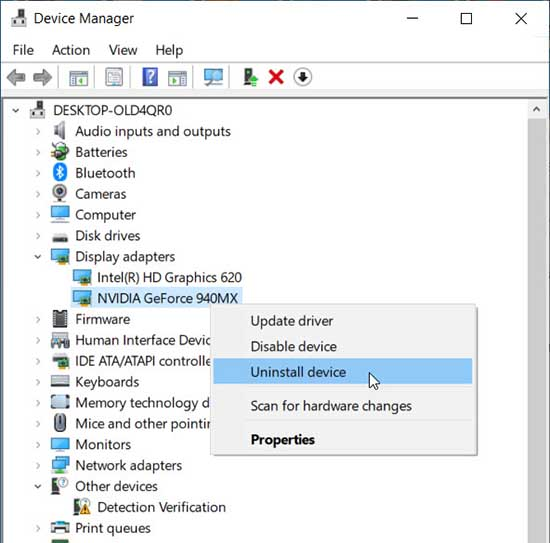 Uninstall the NVIDIA graphics driver