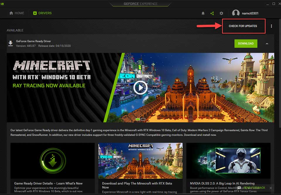 Update NVIDIA drivers Using the GeForce Experience