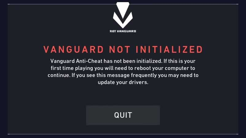 Error 44 – Vanguard not initialized