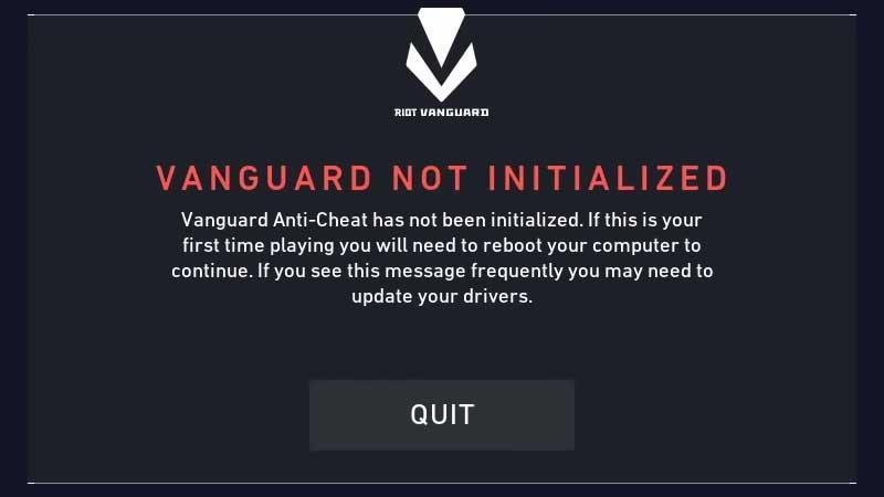 Error 44 – Vanguard not initialized