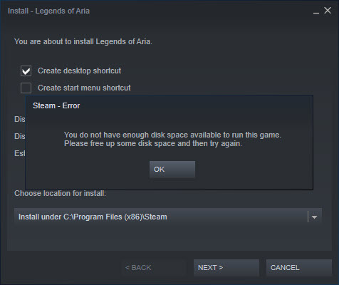 Steam Not Enough Disk Space