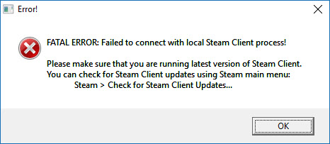 FATAL ERROR: Failed to Connect with Local Steam Client Process