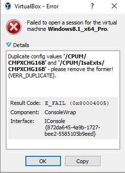 Fix VirtualBox Error 0x80004005: Failed to open session for VM