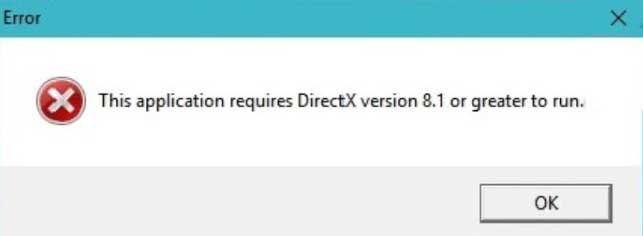 This application requires DirectX version 8.1 or greater to run
