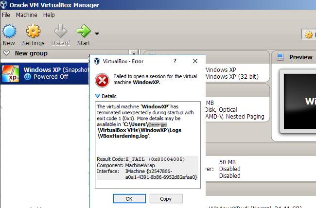 VirtualBox Error Failed to Open a Session for the Virtual Machine