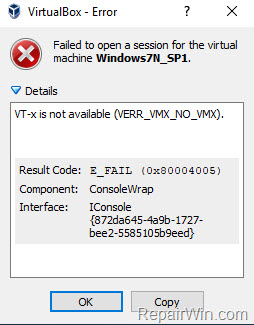 VirtualBox Error VT-x is not available (VERR_VMX_NO_VMX)