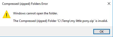 The compressed (zipped) folder is invalid