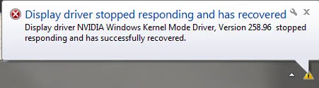 NVIDIA display driver stopped responding and has recovered